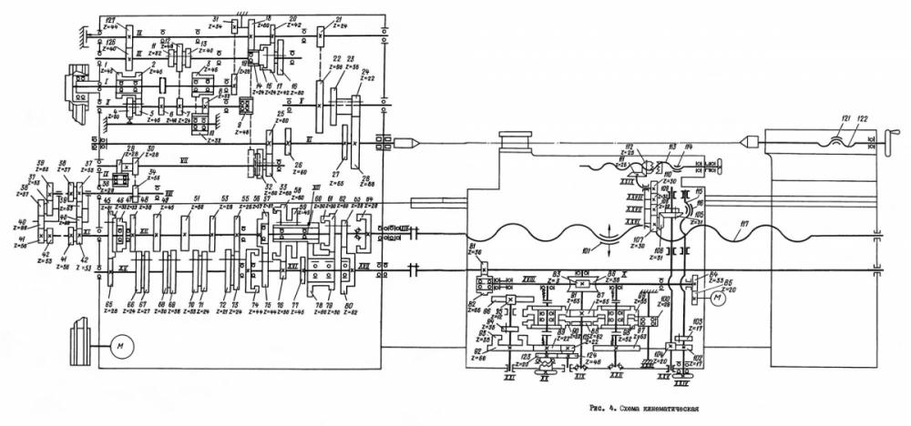 Кинематическая схема токарно-винторезного станка 1М63