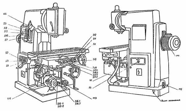 ВМ127 Органы управления cтанком вертикальным консольно-фрезерным